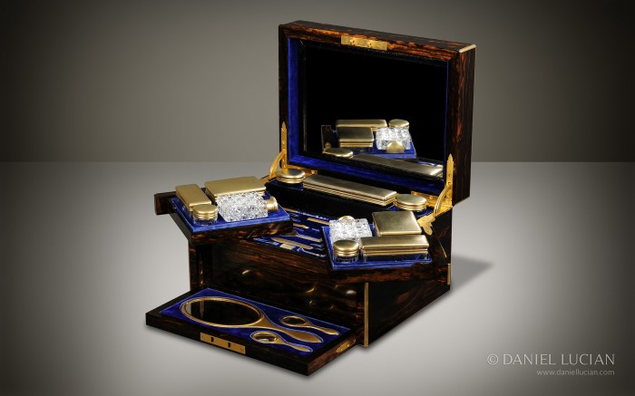 Antique Dressing Case in Coromandel with Silver-Gilt Bottles, by Betjemann & Sons.