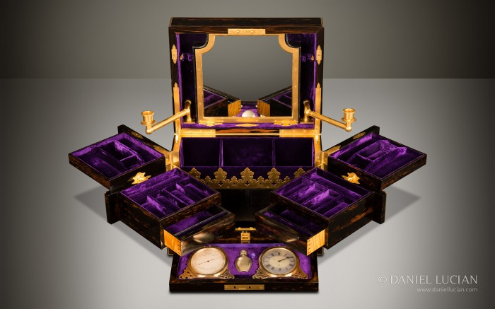 Asprey Antique Jewellery Box in Coromandel with Betjemann Patent Mechanism & Candlesticks.