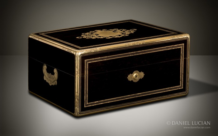French Antique Jewellery Box in Ebony with Brass Inlay by Alphonse Giroux & Cie, Paris.