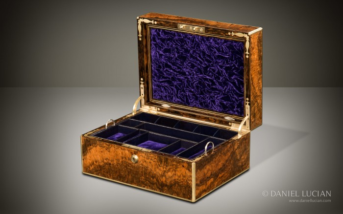 Antique Jewellery Box in Burr Walnut by Halstaff & Hannaford.