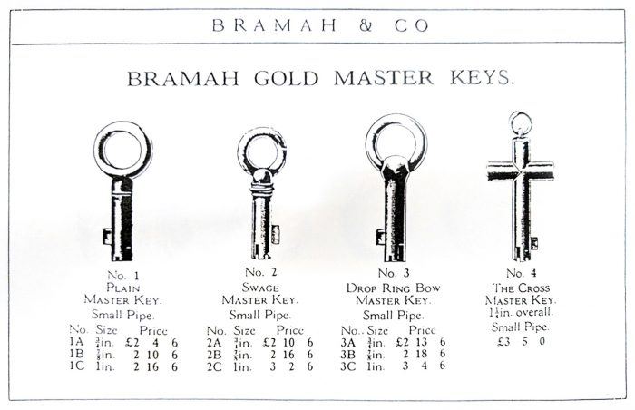 A Selection of Gold Master Keys taken from the Bramah & Co Catalogue.
