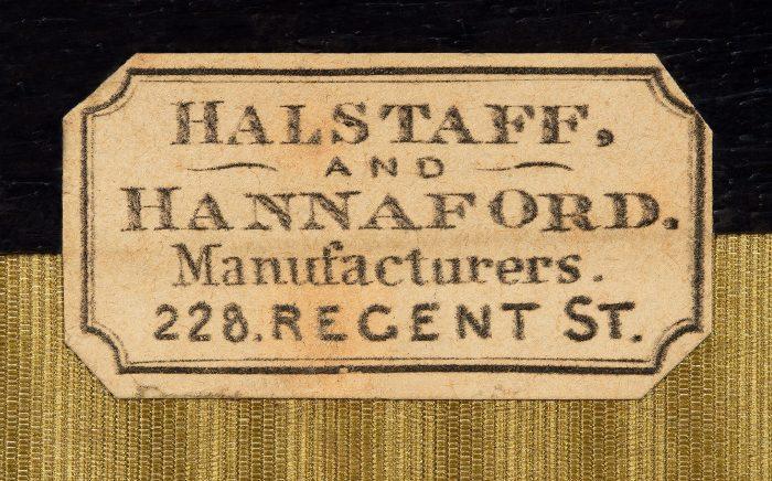 Manufacturer's Label for Halstaff & Hannaford, 228 Regent Street, London.