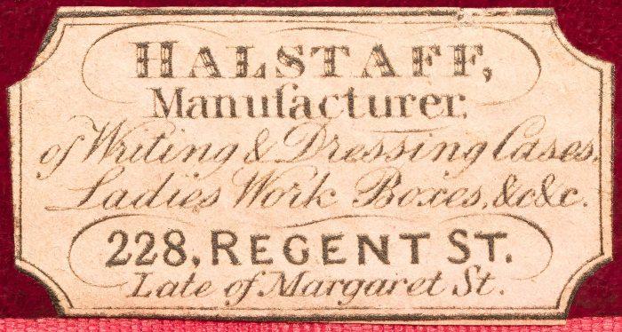 An 1842 Maker's Label for William Halstaff, 228 Regent Street, London.