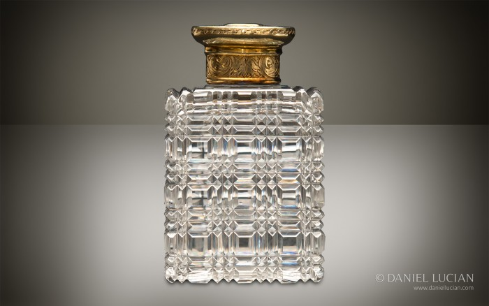 Antique Cut Glass Bottle from an Asprey Antique Dressing Case.