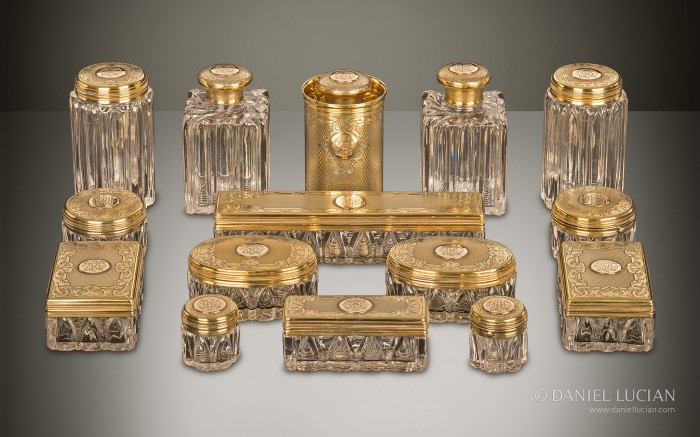 Antique Cut Glass Bottles and Jars from an Asprey Antique Dressing Case.