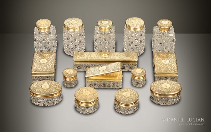 Antique Dressing Case Bottles and Jars with Silver-Gilt / Gold Fittings by Walter Thornhill.