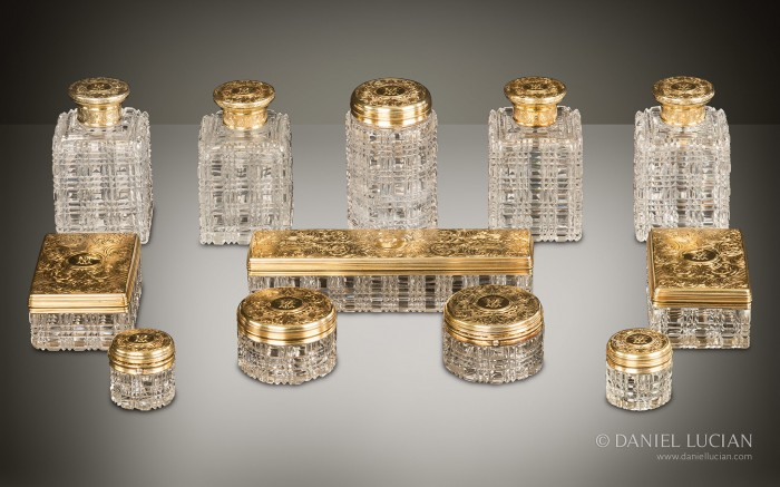 Antique Dressing Case Bottles and Jars with Silver-Gilt / Gold Fittings by Asprey.