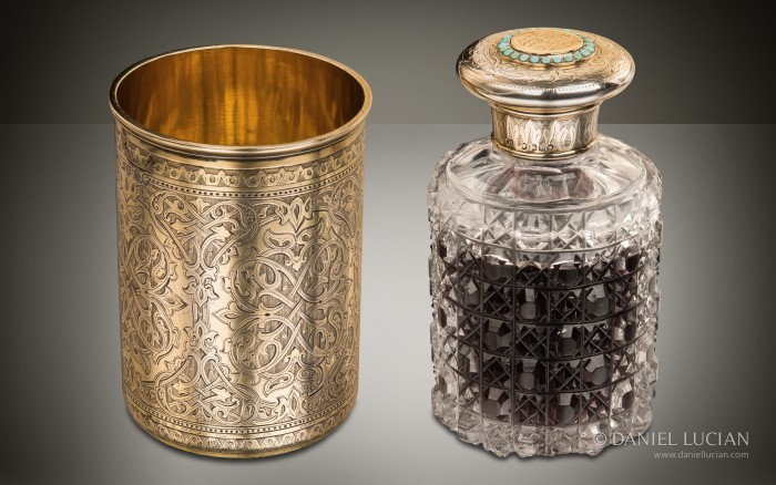 Silver-Gilt Spirit Bottle and Beaker Set from an Antique Dressing Case by Asprey & Sons.