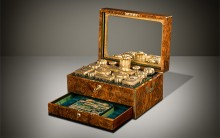 Antique Dressing Case in Burr Walnut with Silver-Gilt / Gold Fittings by Asprey & Sons