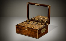 Antique Dressing Case in Rosewood with Silver-Gilt / Gold Fittings by Asprey