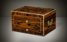Antique Jewellery Box in Calamander with Removable Secret Compartments, by Asprey