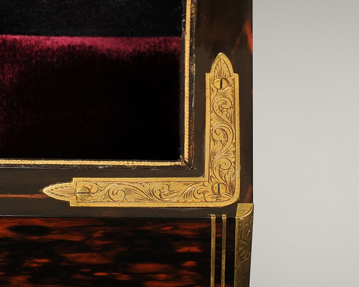 Engraved Gilt Brass Corner Mount from a Dome-Top Antique Jewellery Box in Coromandel.