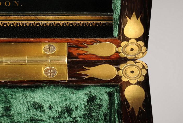 Ornate Inlaid Brass Corner Mounts from a Rosewood Antique Jewellery Box by Edwards.
