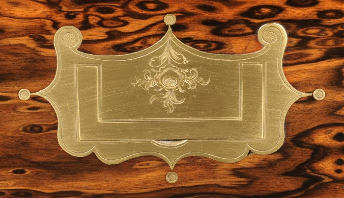 Ornate Brass Handle with Engraved Decoration from a Leuchars Antique Coromandel Box.