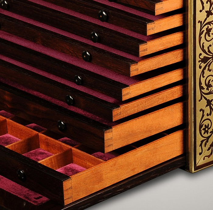 Antique Dovetail Joined Drawers from a Rosewood Jewellery Collector's Cabinet.