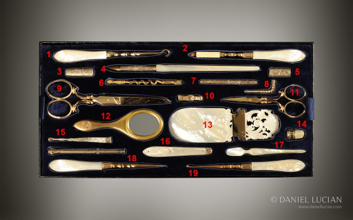 Vanity Tool Tray from an Antique Dressing Case in Calamander with Silver-Gilt / Gold Fittings by Walter Thornhill.