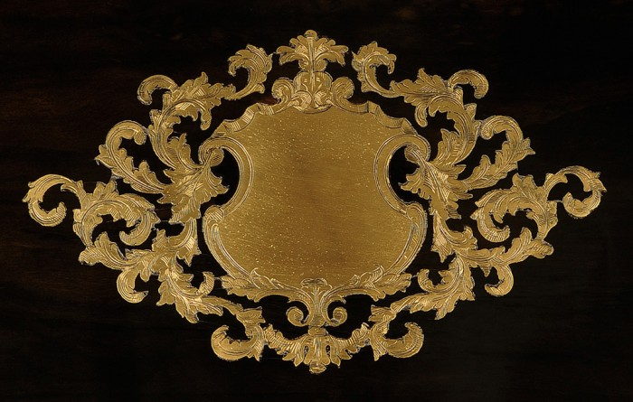 Antique Engraved Foliate Brass Escutcheon from a French Ebony Jewellery Box.