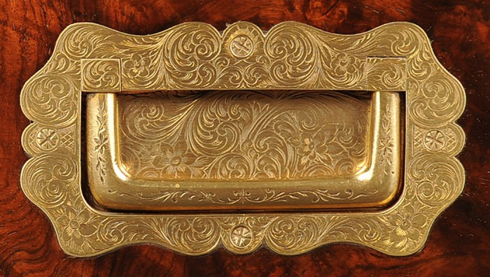 Sculpted and Engraved Brass Handle from an Antique Jewellery Box in Figured Walnut.