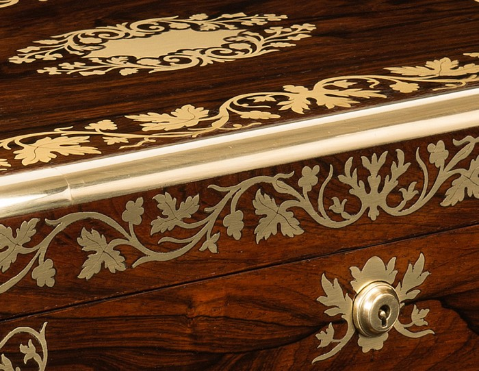 Inlaid and Engraved Foliate Brass Leaf Designs on a Rosewood Antique Jewellery Box.