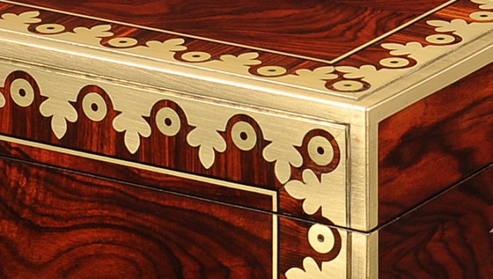 Fretworked Foliate Brass Inlay on an Antique Kingwood Jewellery Box.