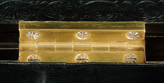 Antique Brass Hinges with Decorative Incisions to the Screw Heads by Howell James & Co.
