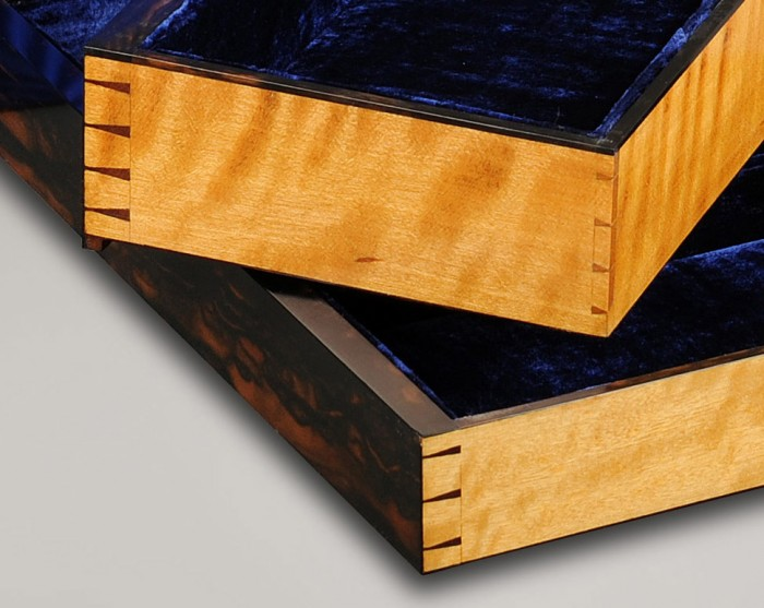 Dovetail Joints on Solid Satinwood Drawers.