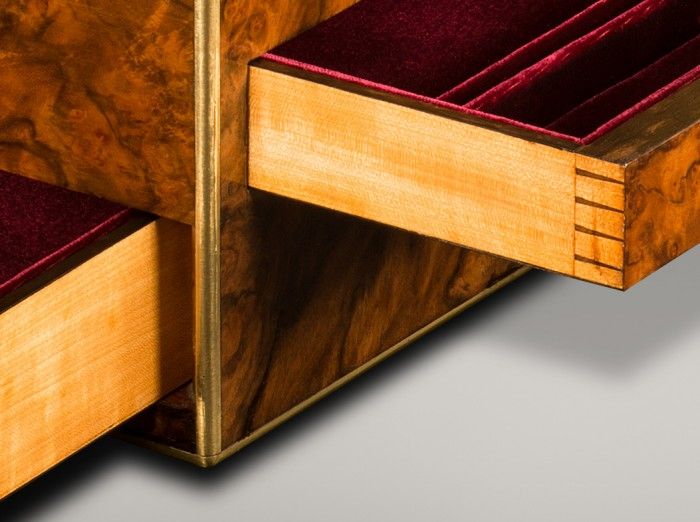 Solid Satinwood Side Drawer with Dovetail Joints.