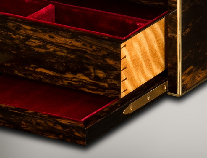 Solid Satinwood Drawer from an Antique Jewellery Box in Coromandel by Jenner & Knewstub.
