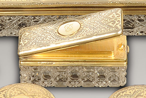 Antique Matchbox and Match Striker with Silver-Gilt / Gold Lid by Walter Thornhill.