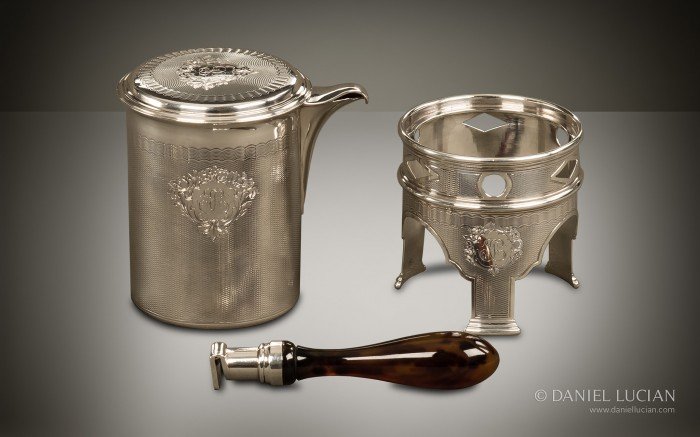 Engine Turned Silver Kettle and Drinking Set from a French Nécessaire de Voyage by Aucoc Ainé à Paris.