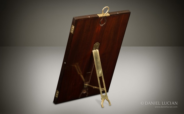 French Brass Inlaid Easel Mirror with Mahogany Back and Brass Hinged Stand from an Antique Nécessaire de Voyage Dressing Case by Aucoc Ainé à Paris.