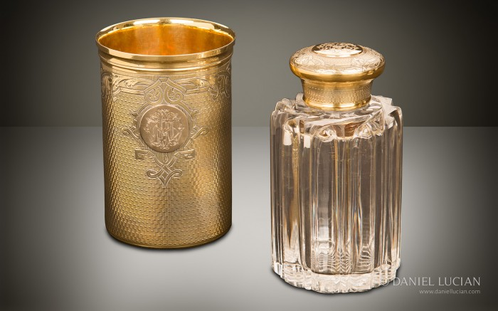 Spirit Bottle and Beaker from an Antique Dressing Case with Silver-Gilt / Gold Fittings by Asprey & Sons.