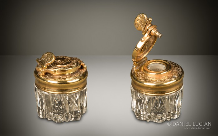 Travelling Inkwell from an Antique Dressing Case with Silver-Gilt / Gold Fittings by Asprey & Sons.