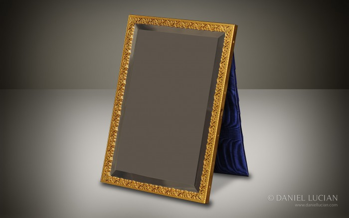 Gilt Pierced Brass Mirror Frame with Beveled Glass from a Jenner & Knewstub Antique Dressing Case.