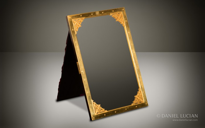 Gilt Brass Mirror Frame with Fretted Brass Corner Mounts taken from an Antique Burr Walnut Jewellery Box.