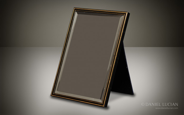 Leather-Bound Mirror Frame with Gold Tooling and Beveled Glass taken from an Antique Asprey Jewellery Box.