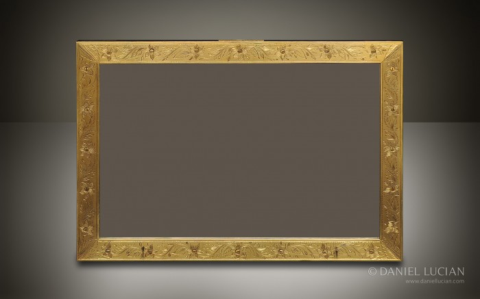 Engraved Gilt Brass Facing Applied to a Coromandel Mirror Frame taken from a Dome Top Antique Jewellery Box.