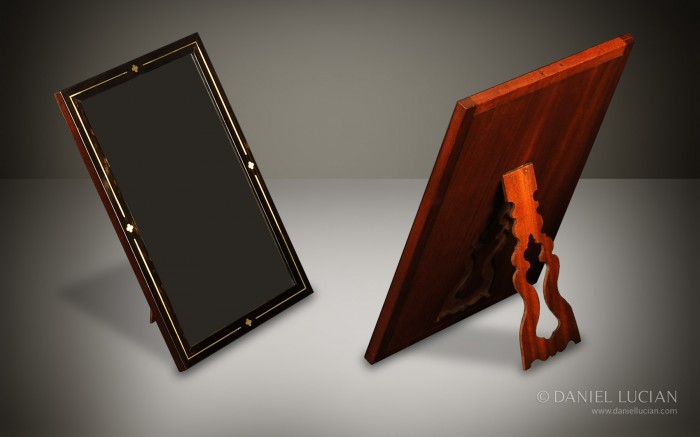 Brass Inlaid Coromandel Framed Vanity Mirror with Mahogany Fretwork Stand taken from a Howell James & Co. Antique Box.