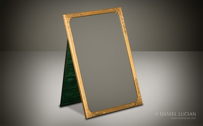 Gilt Brass Mirror Frame with Engraved and Engine Turned Decoration taken from an Asprey Antique Dressing Case.