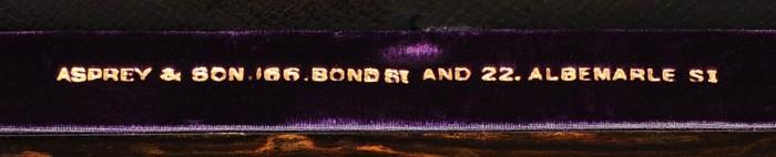 'Asprey & Son, 166 Bond St and 22 Albemarle St' Maker's Mark, Gold Tooled into Velvet.