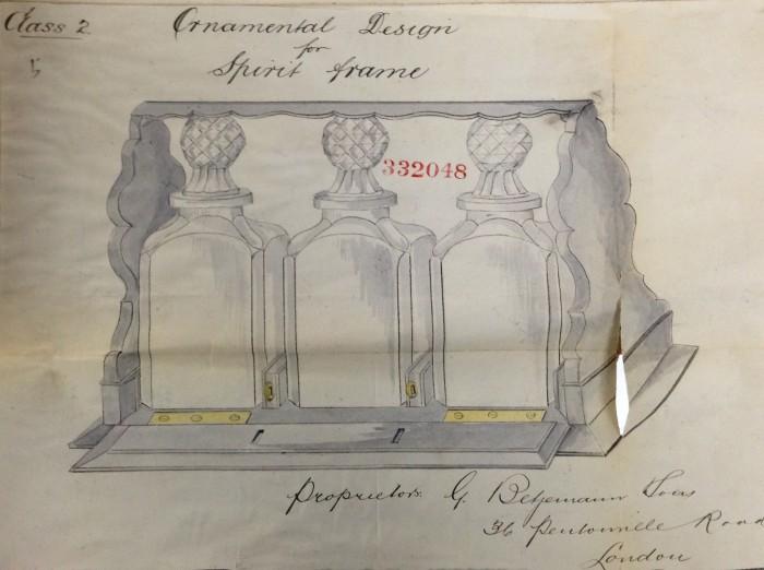 Betjemann Patent Design for a 'Tantalus' Spirit Frame.