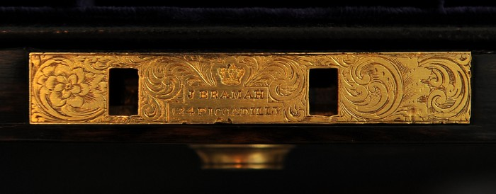 Bramah Lock with Decorative Engraving, Marked 'J. Bramah - 124 Piccadilly, London'.