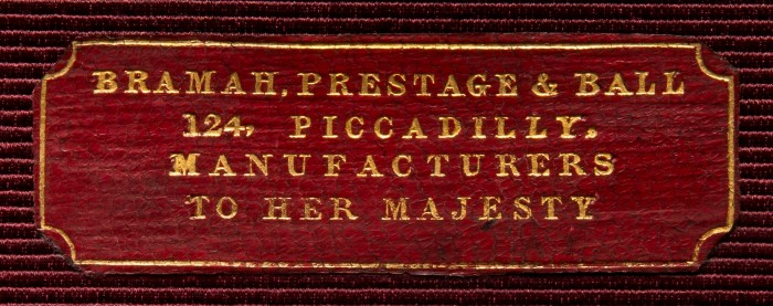 Bramah, Prestage & Ball Maker's Label from an Antique Jewellery Box in Rosewood.
