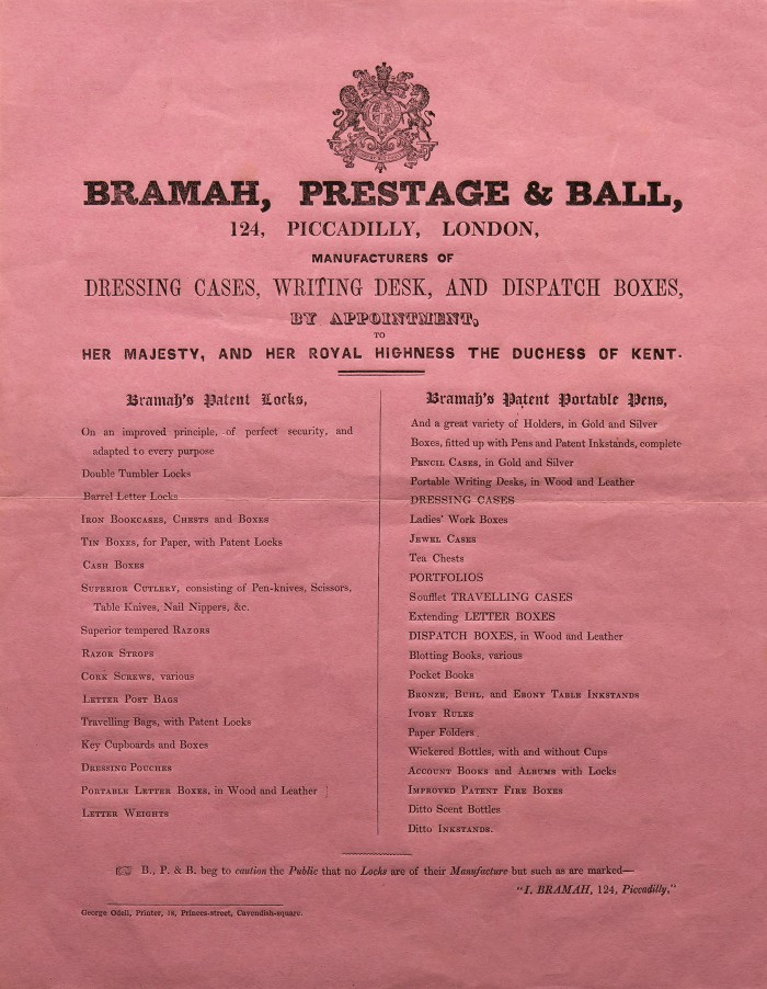 Bramah, Prestage & Ball Advertising Literature.