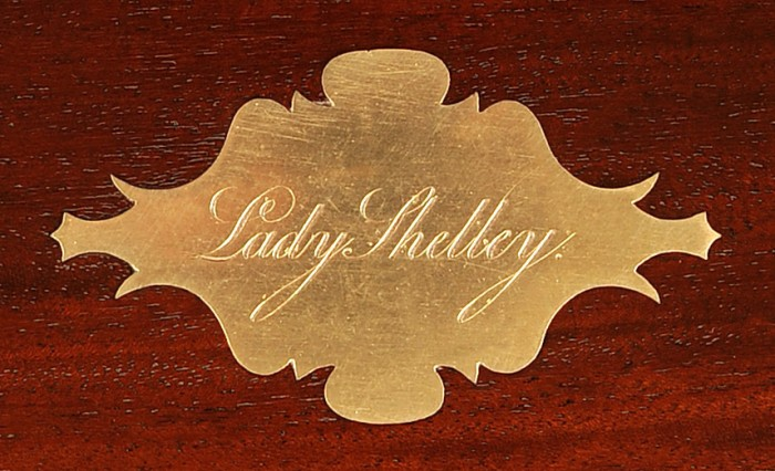 Brass Escutcheon with Personalised Engraving from a Mahogany Antique Jewellery Box.