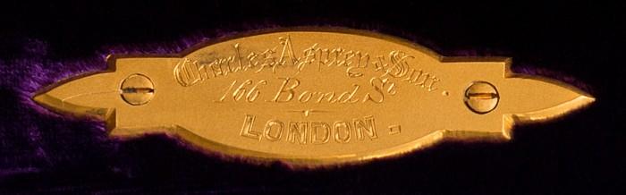 Charles Asprey & Son Gilt Brass Maker's Plate.