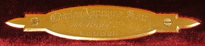 Charles Asprey and Son Gilt Brass Engraved Maker's Plate.