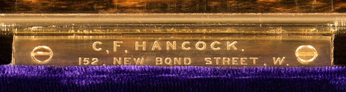 Charles F. Hancock Engraved Brass Retailer's Plate.