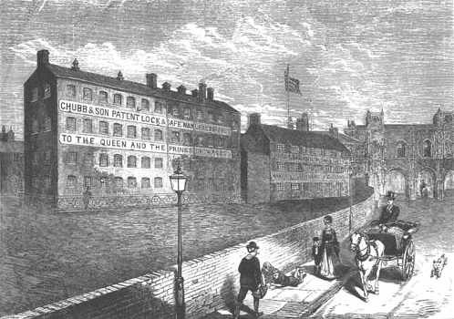 Etching of the Chubb building in Wolverhampton, circa 1870.