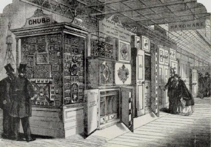 Lithograph of the Chubb Lock Stand at the Great Exhibition of 1851.